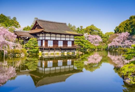 Kyoto, Japan spring at Heian Shrine's pond garden