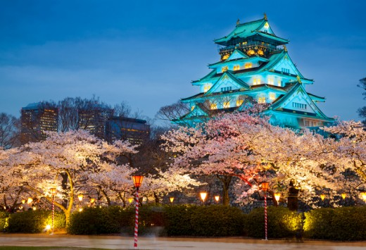 Osaka castle at night (cherry blossom season), Osaka, Japan