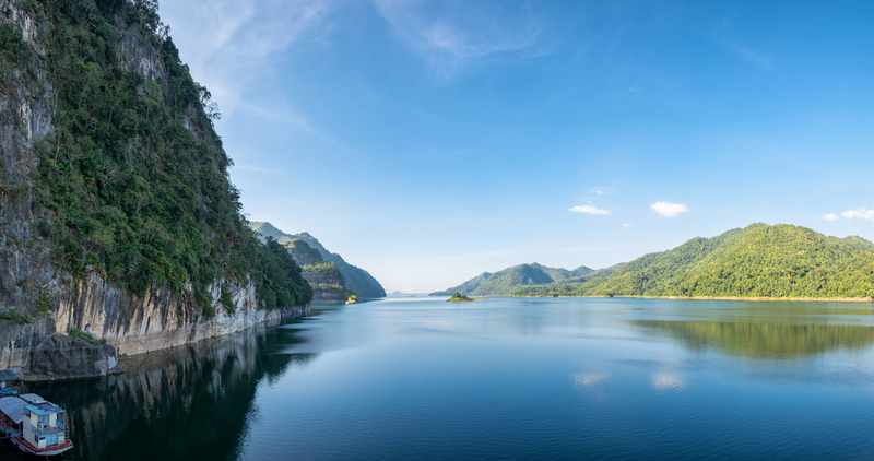 Dam blue water with mountain range clear panorama scenic, vajiralongkorn , khao laem, kanchanaburi, Copyright Mumemories