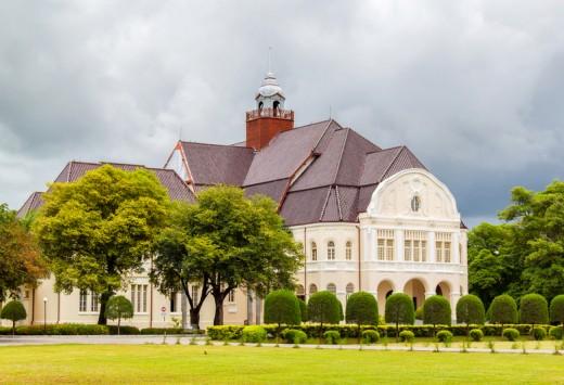 Phra Ram Ratchaniwet (Wang Ban Peun) king Rama 5 palace in raining day, Phetchaburi Province, Thailand, Copyright PK.pawaris