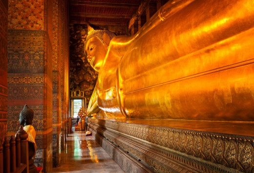 Reclining Buddha gold statue. Wat Pho, Bangkok- Copyright f9photos
