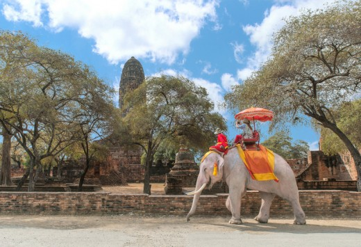 Tourist on elephant sightseeing in Ayutthaya Historical Park, Ayutthaya, Thailand, Copyright Prasit Rodphan