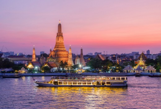 Wat Arun and cruise ship in night ,Bangkok city, Copyright PK.pawaris