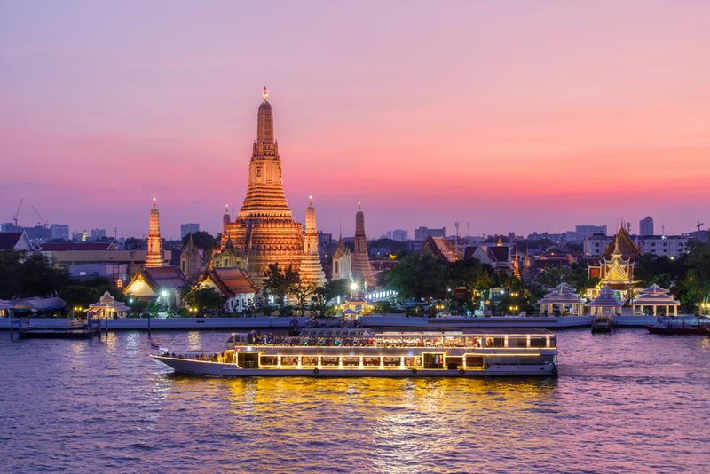 Wat Arun and cruise ship in night ,Bangkok city, Copyright PK.pawaris