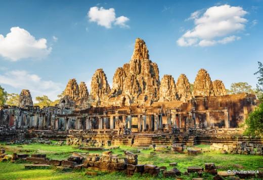 Main view of ancient Bayon temple in Angkor