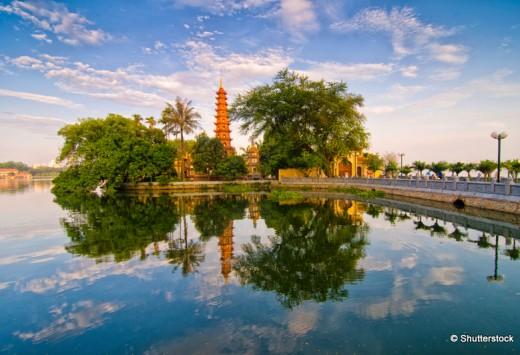 Tran Quoc pagoda in early morning in Hanoi