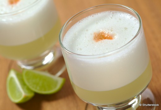 Peruvian cocktail named Pisco Sour made of Pisco